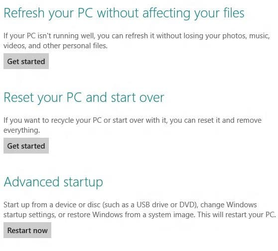 Reset or Update Windows 8 PC Without DVD Step2