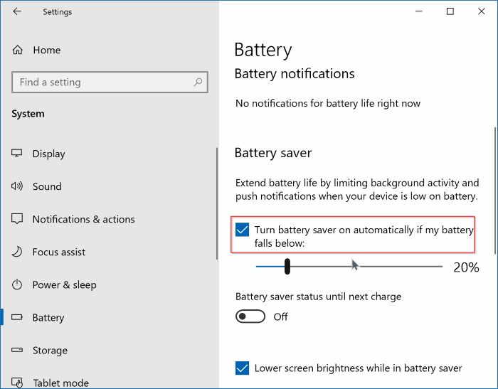 enable or disable battery saving in Windows 10 pic2